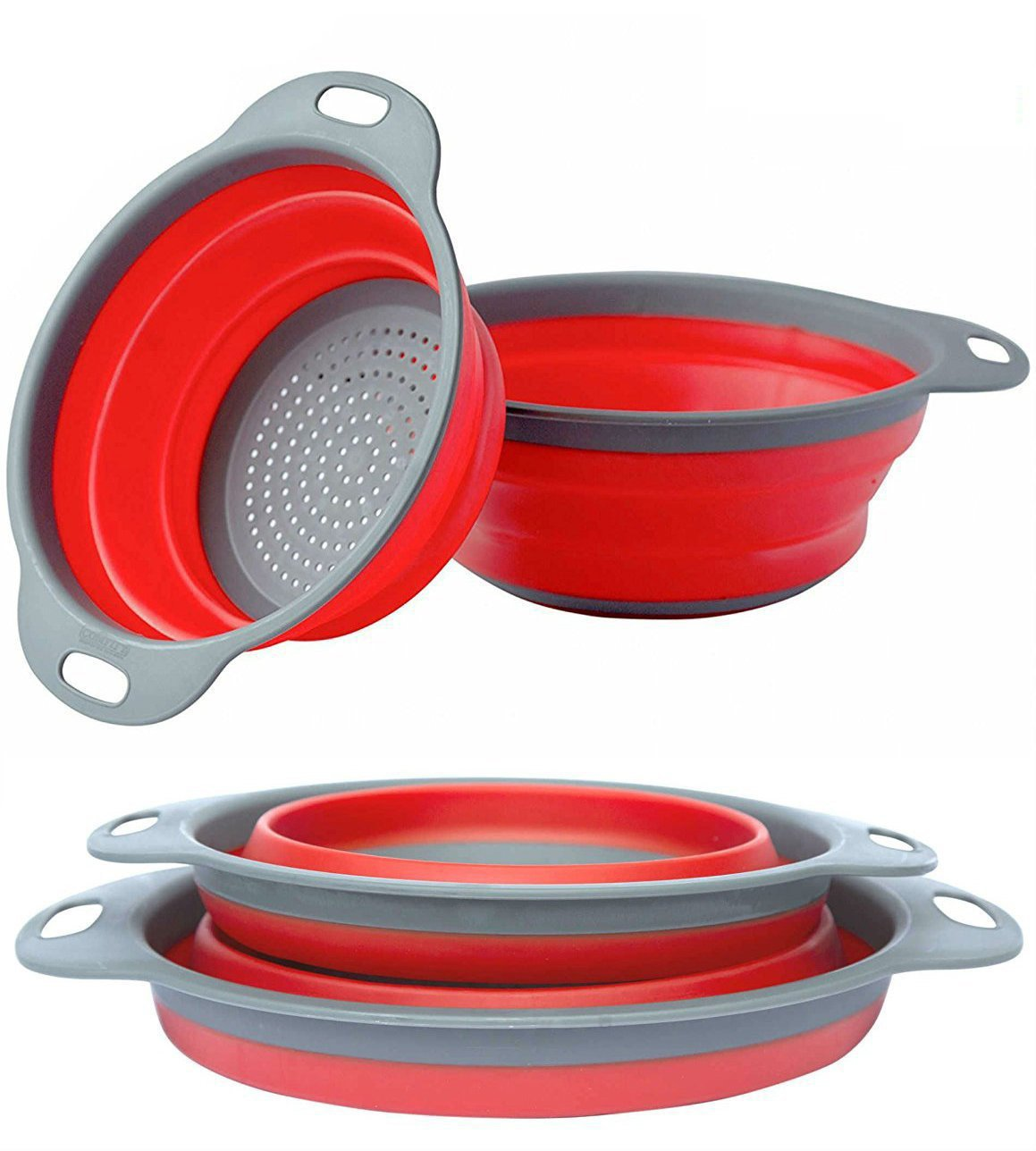 Collapsible Colanders Set, Silicone Kitchen Sink Strainers, Hand-hold Strainers Basket, 2 Pack (Red)