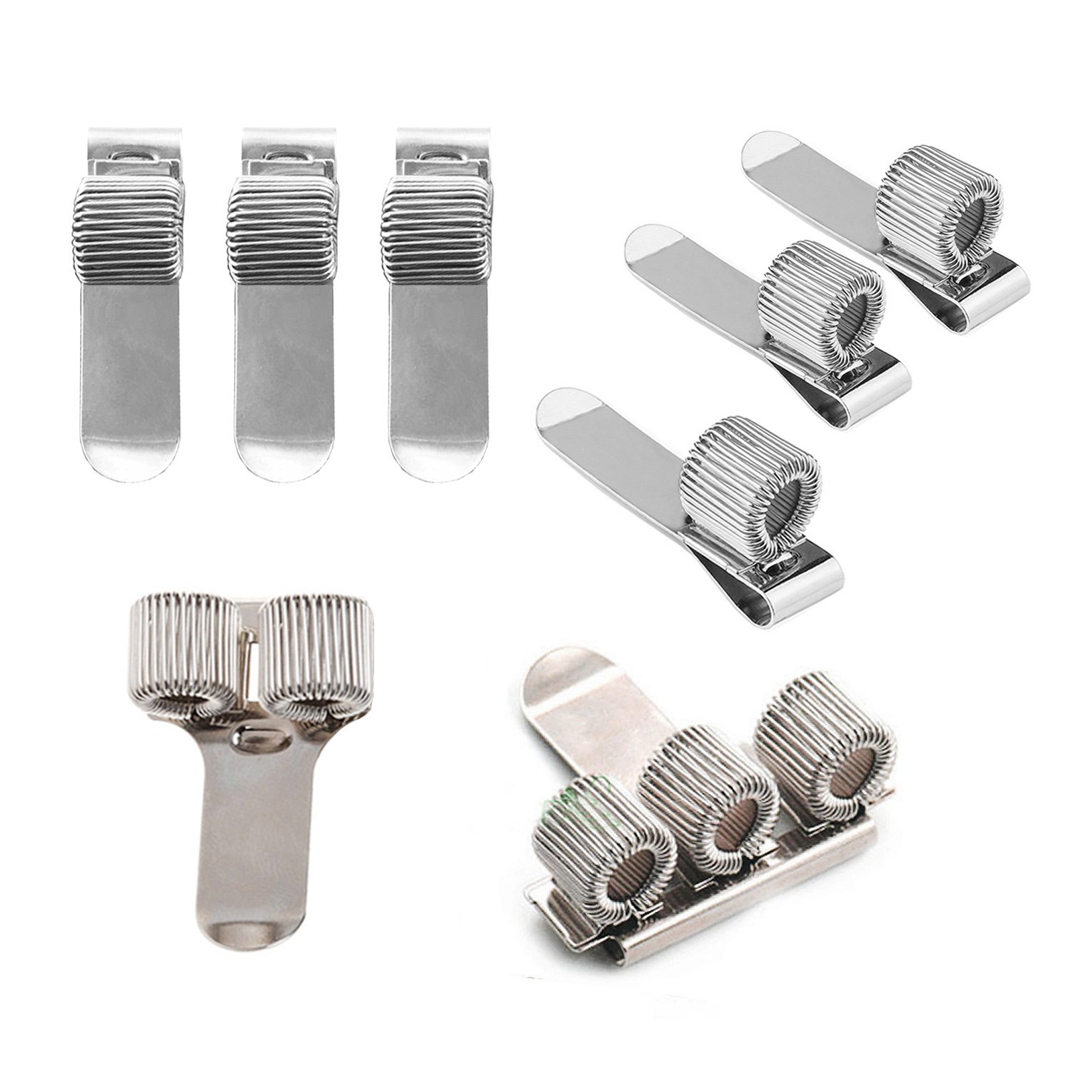 Stainless Pen Holder Clip for Notebook and Clipboard with Spring Fits Almost All Pen Size,8 Pack from BASEEING (Silver)