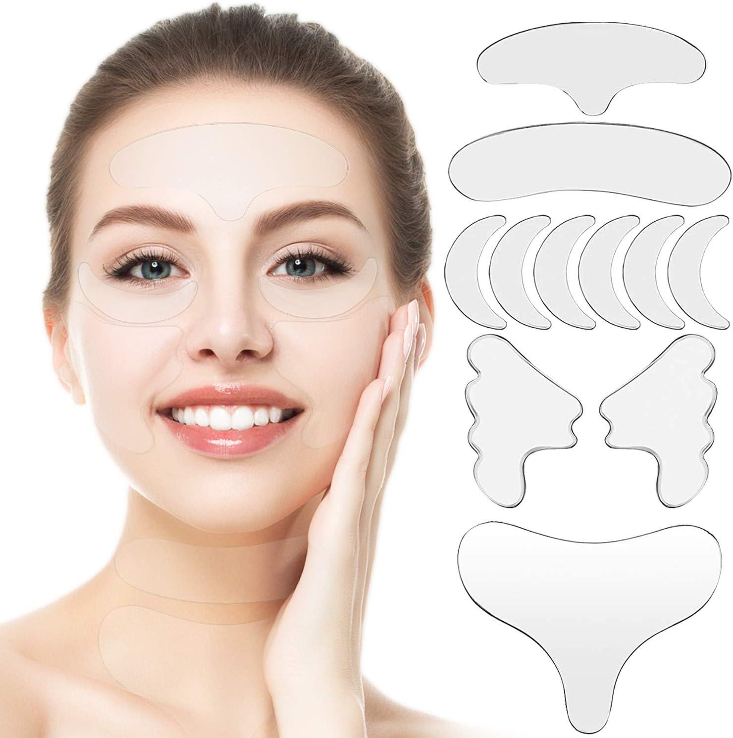 11PCS Parches Faciales para Arrugas, Tiras para Eliminar Arrugas Faciales, Almohadillas Faciales de Silicona Antiarrugas Reutilizables, que Reducen y Suavizan las Arrugas