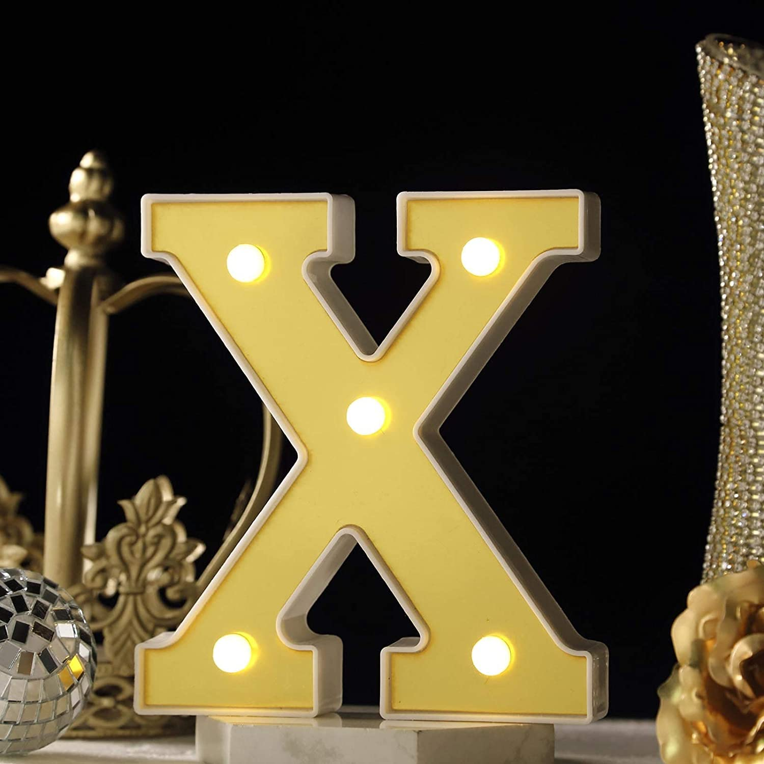 X /& O Paper Goods Light Up Marquee Sign w// Glitter Letters