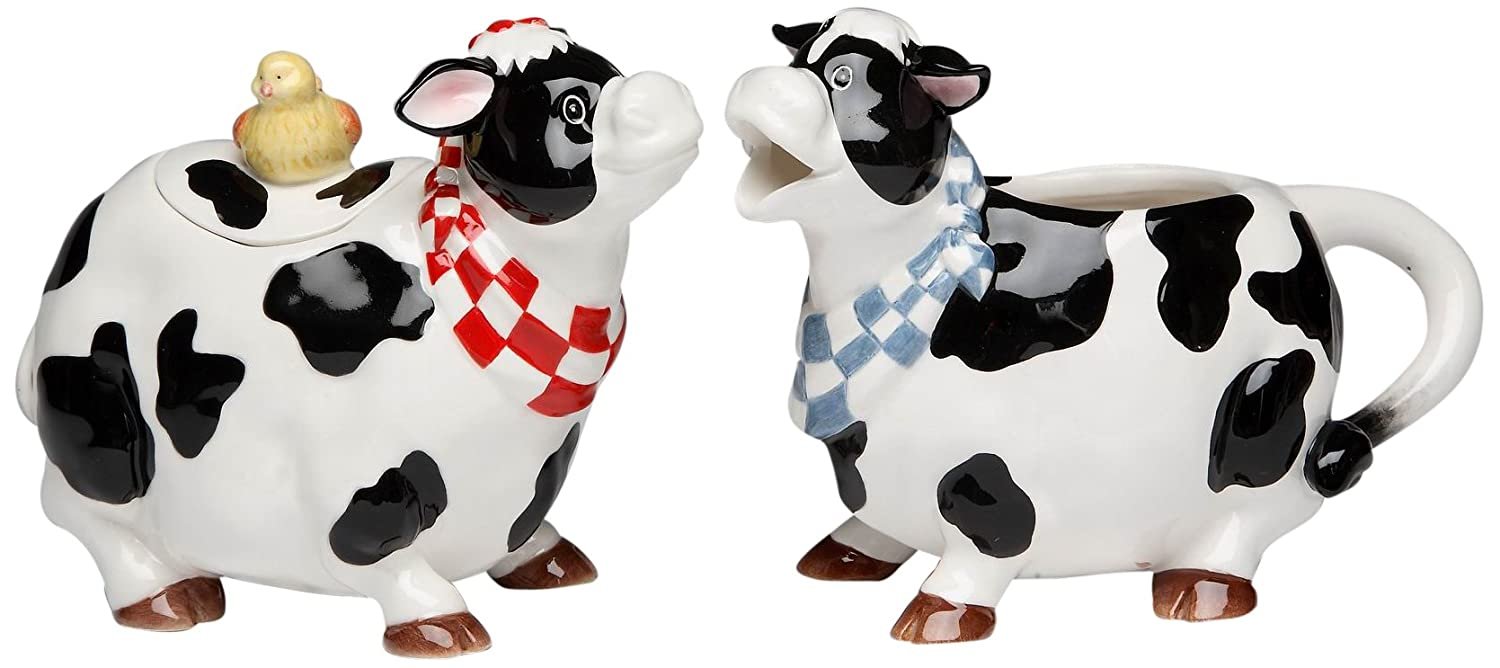 ATD 61739 Black and White Cow Couple Creamer and Sugar with Chick Top Lid