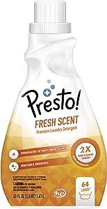 Amazon Brand- Presto! Concentrated Liquid Laundry Detergent, Fresh Scent, 64 Loads, 48 Fl. Oz.