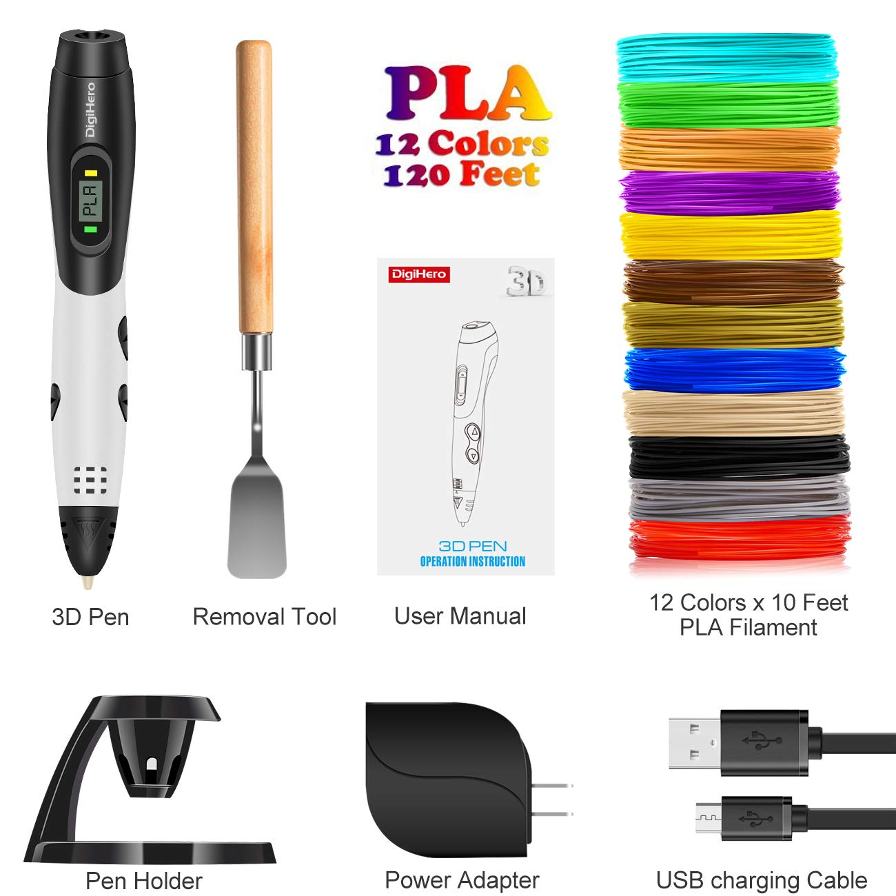 DigiHero 3D Printing Pen with 1.75mm PLA Filament Pack of 12 Different Colors Adults 3D Pen with LCD Screen Each Color 10 Feet 3D Print Pen is Perfect Gift for Kids