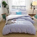 Merryfeel Seersucker Duvet Cover Set,100% Cotton Yarn Dyed Striped Duvet Cover with 2 Pillowshams - Full/Queen Navy
