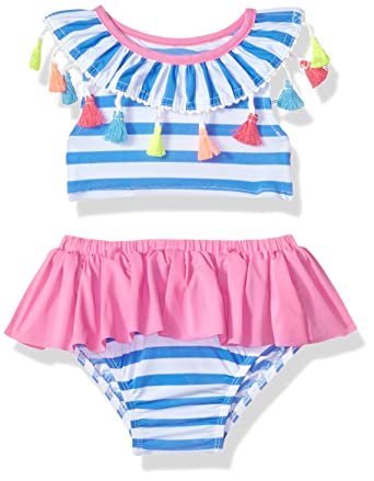 27959d8f449dfc Amazon.com: Mud Pie Baby Girls Tassel Stripe Two Piece Swimsuit: Clothing
