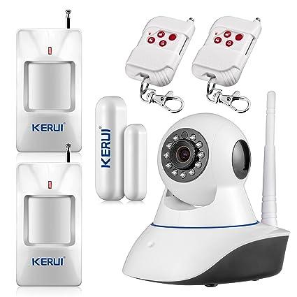 KERUI – Cámara IP movimiento sistema Alarma Casa sistema Detector contra casa seguridad IR antirrobo Detector