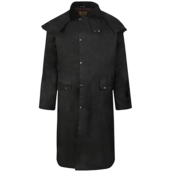 LONG WAX WAXED STOCKMANS RIDING COAT JACKET UNISEX ANTIQUE BROWN ...