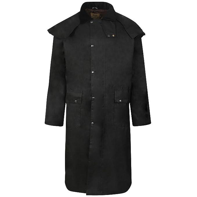 Cera l Abrigo Negro Stockmans Chaqueta Riding Largo Encerado Unisex 8wxP8d