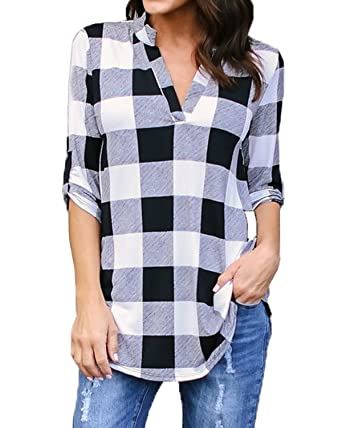 f13247a20c6826 Kyerivs Women s Buffalo Check Plaid Shirts V Neck Roll up Sleeve Casual  Long Blouse Tops Black