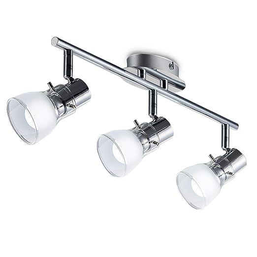 Lámpara de techo LED 3x5,5W 230V, Foco de techo moderno IP20, Lampara de salón giratoria GU10, Color plata