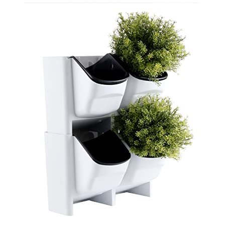 T4u Plastic Self Watering Vertical Living Wall Planter Set White