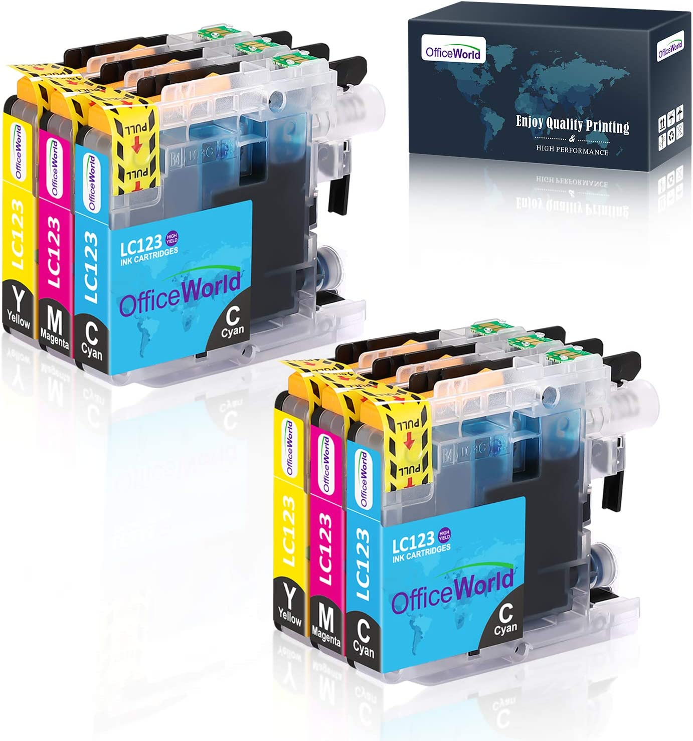 Officeworld Replacement For Brother Lc123 Cyan Magenta Yellow Printer Cartridges High Capacity Compatible With Brother Mfc J6520dw Dcp J4110dw Mfc J4410dw Mfc J470dw Mfc J870dw Dcp J132w Mfc J4510dw Amazon De