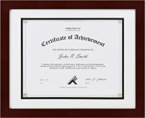 Golden State Art, Document/Photo 11x14 Wood Frame for 8.5x11 Document & Certificates, Real Glass (Mahogany with White Over Black Double Mat, Set of 1)