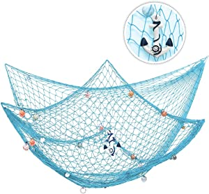 king do way 79inch x 59inch Mediterranean Style Fishing Nets with Sea Shells and Anchor Decorative Background Wall Bar for Home Decoration (Green)