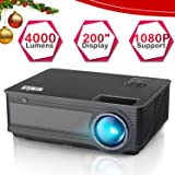 """Projector,WiMiUS P18 Video Projector HD 4000 Lumens LED Projector 200"""" LCD Home Cinema Theater Projector Support 1080P HDMI VGA AV USB for Home Entertainment, Party and Games (Black)"""