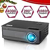 """Proyectores, WiMiUS Video Proyector 4000 Lúmenes Soporta Full HD 1080P Proyector LED 50000 Horas Proyector HD con 200"""" Pantalla, Proyector Cine en casa con el Interfaz HDMI/ USB/ VGA/ AV/ TF - Negro"""