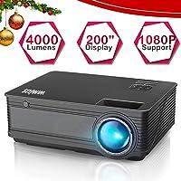 """Videoproiettore,WiMiUS 4000 Lumen LED Proiettore Full HD Supporto 1080P Con 200"""" Display Home Cinema Multimedia Proiettore per iPhone Smartphone Tablet PC Computer con TV/AV/VGA/USB/HDMI (Nero)"""