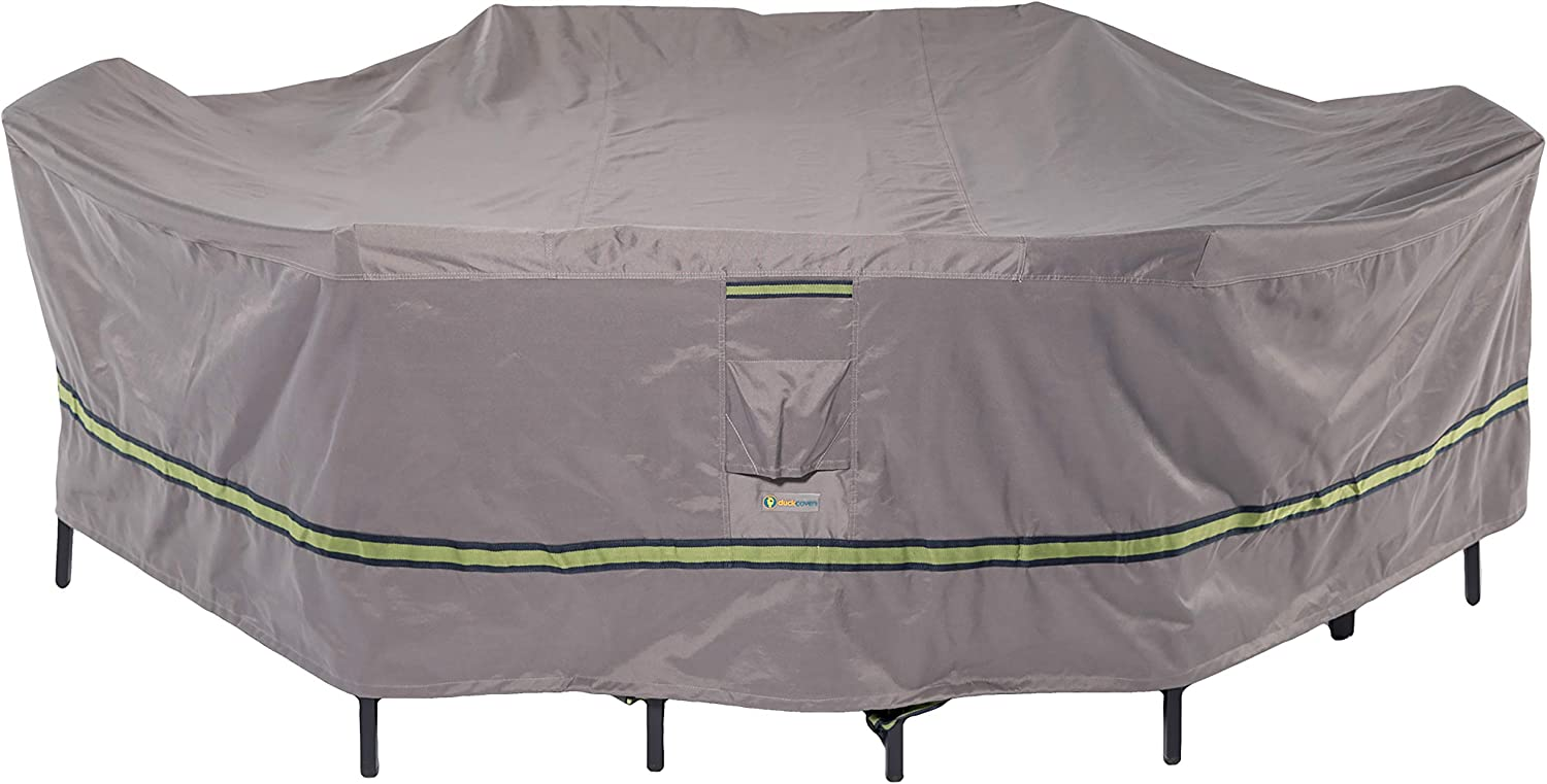 "Duck Covers Soteria Rainproof 109"" Long Rectangular/Oval Patio Table with Chairs Cover"