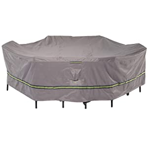 "Duck Covers Soteria Rainproof 127"" Long Rectangular/Oval Patio Table with Chairs Cover"