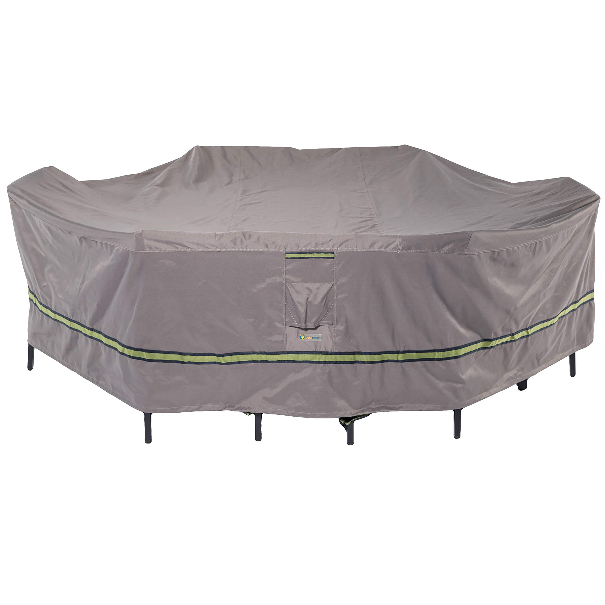Duck Covers Soteria Rainproof 127'' Long Rectangular/Oval Patio Table with Chairs Cover