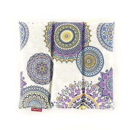 Saco Térmico de Semillas aroma Lavanda, Azahar o Romero tejido Mandalas Lilas (Sin Aroma, 28 x 26 x 2 cm)