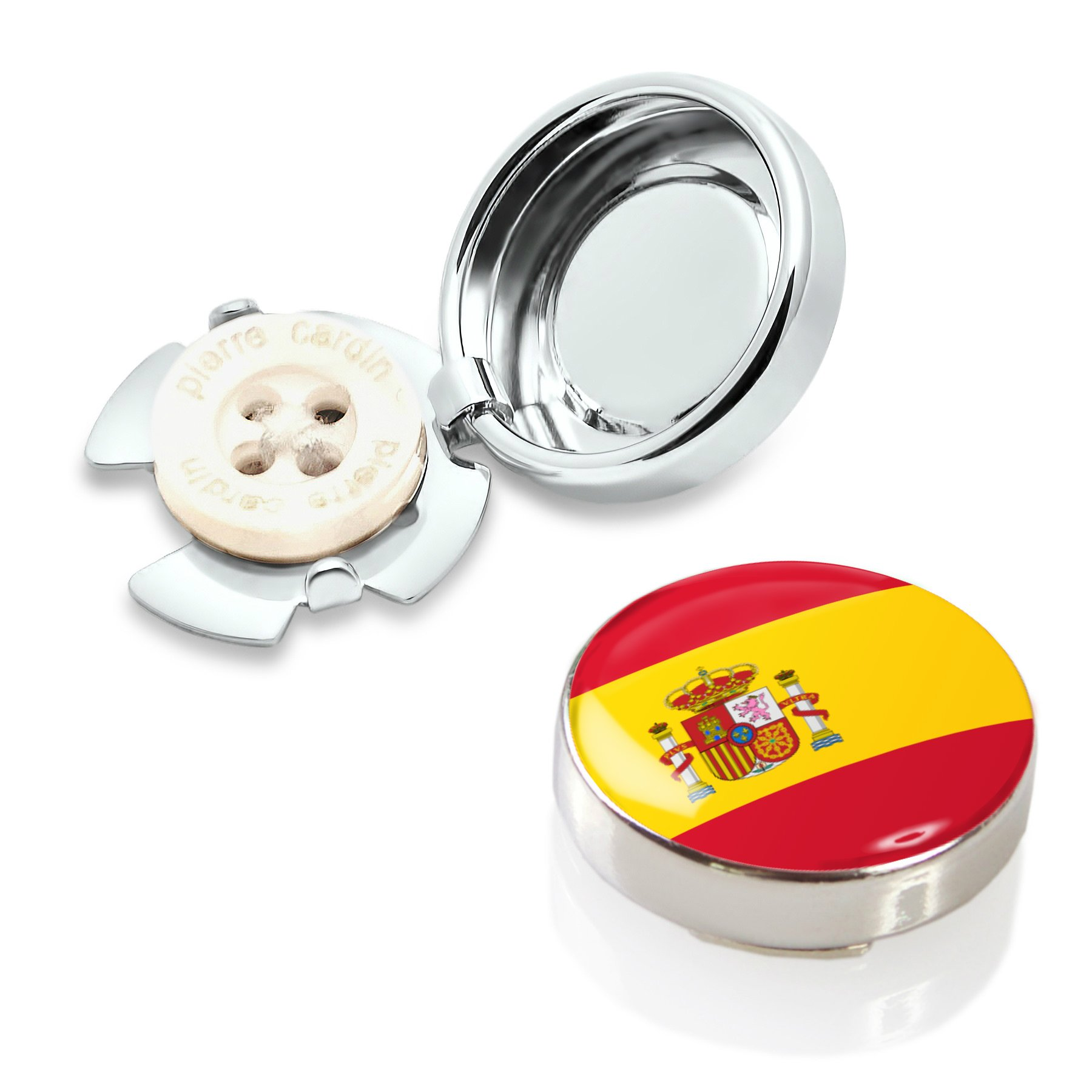 Spain Flag Button Covers (one pair) by Button Cuff
