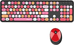 GTSP Colorful Wireless Keyboard and Mouse Combo, Cute Bluetooth Keyboard Retro Typewriter with Round Keycaps for Computer Laptop Desktops PC Mac, 2.4GHz Dropout-Free Connection (Multicolor Black)