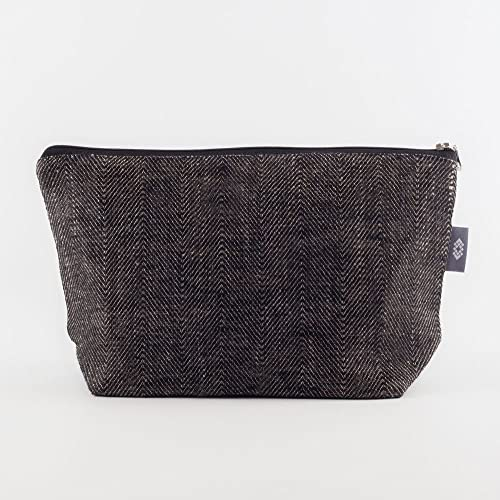 1d624faa73ee Amazon.com  Large Cosmetic Bag Black Canvas - 100% Linen Flax Make-Up Bag  Travel Case with two Pockets Zippered Toiletry Organizer Gift for Her or  Him  ...