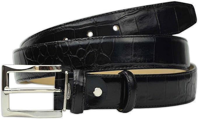 """Men/'s Embossed Crocodile Genuine Leather Belt 1-3//8/"""" Wide Black Brown Cognac"""