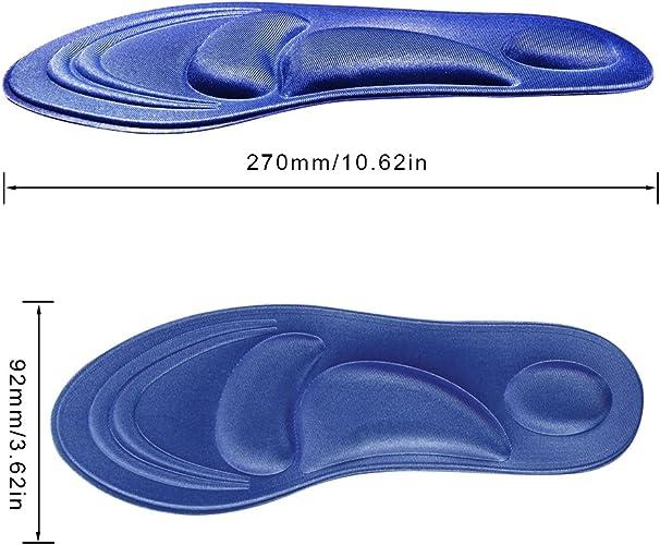 SunBeter 4D Plantillas de zapatos, Espuma de memoria Aliviar los pies Zapatos de dolor Almohadillas Masaje transpirable Aliviar Fascitis plantar para ...
