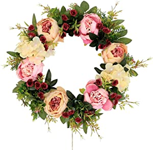 """Palmhill Peonies Hydrangea Wreath, 16"""" Artificial Flower Handcrafted Front Door Wreaths for Spring and Summer Autumn All Seasons Floral Wreath Twig Vine Hanging for Farmhouse Office Home Wedding Decor"""