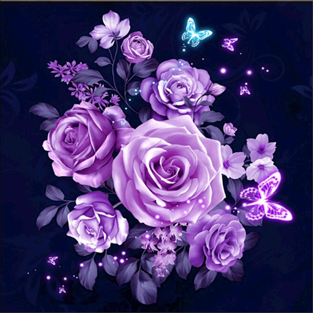 Yeesam Art New 5D Diamond Painting kit  –   Purple rose Flower 30  * 30  –   DIY cristalli strass pittura incollato vernice di numero kit ricamo a punto croce