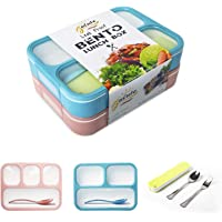 Leakproof Bento Boxes Containers for Kids and Adult ¨CKids Lunch Bento Box with 3 and 4 Compartments Microwave and Dishwasher Safe(NO LIDS)