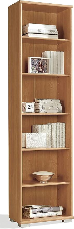Miroytengo Estanteria librería 6 baldas Alta Salon habitacion Dormitorio despacho Color Cerezo 199x51x33