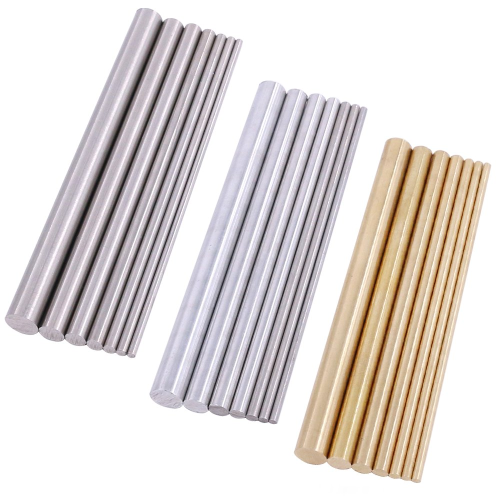 Swpeet 21Pcs Metal Round Rods Kit, 3 Kinds of Metal Materials Including Stainless Steel, Brass and Aluminum Perfect for for DIY Craft Tool - Diameter 2mm-8mm Length 100mm by Swpeet