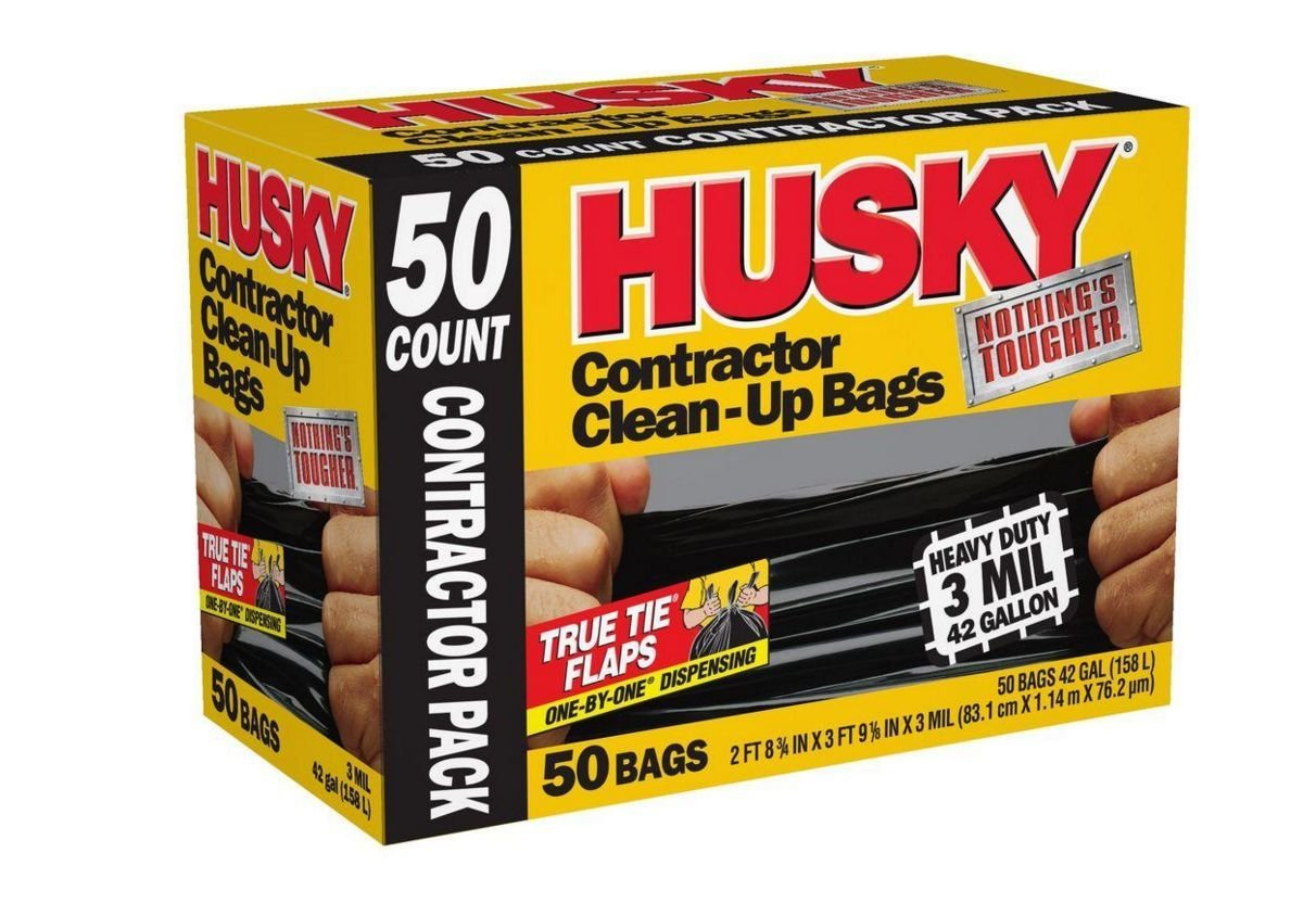 Tae-KC Husky 42 Gal. Heavy Duty Solid Contractor Clean Up Trash Recycling Bags 50 Count