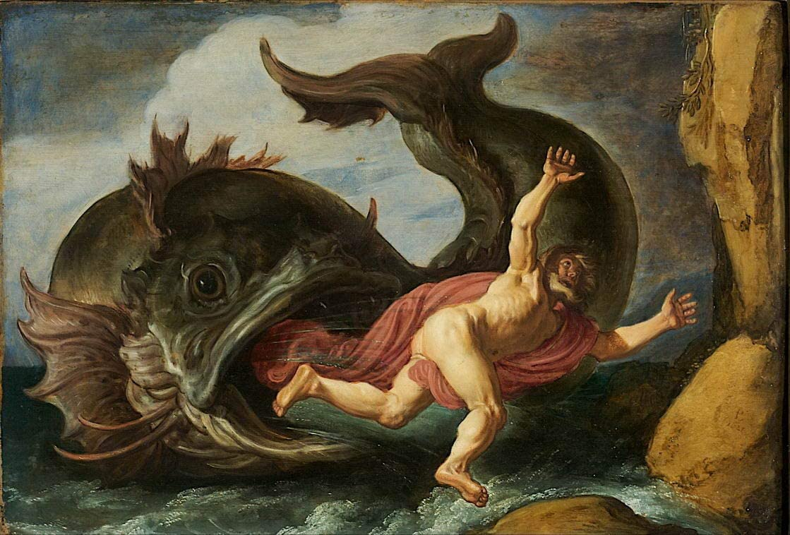 Berkin Arts Pieter Lastman Giclee Print On Canvas-Famous Paintings Fine Art Poster-Reproduction Wall Decor(Jonah and The Whale) Large Size 31.5 x 21.3inches