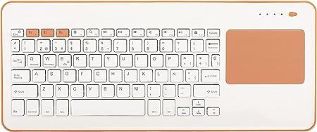 Silver HT - Teclado Inalámbrico con Touchpad para Smart TV, Smartphones, Tablets, iPhone, iPad y Videoconsolas - White + Peach. Teclado en Español. ...