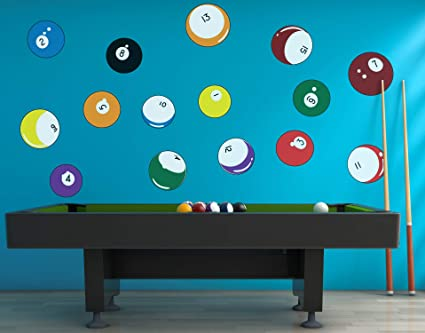 g1455 Vinyl Wall Decal Billiards Balls Entertainment Man Cave Pool Stickers