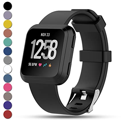 Feskio for Fitbit Versa Strap, Classic Adjustable Replacement Soft Silicone Sport Wristband Strap for Fitbit Versa Smartwatch, Large/Small, 12 Colours