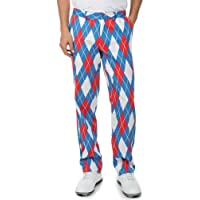 Tipsy Elves Men's American Flag USA Golf Pants - Patriotic Red White and Blue Golfing Pants