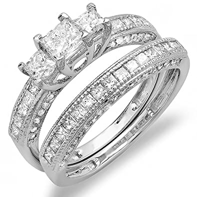 1.75 Carat (ctw) 14K White Gold Diamond Ladies Bridal 3 Stone Engagement Ring  Set