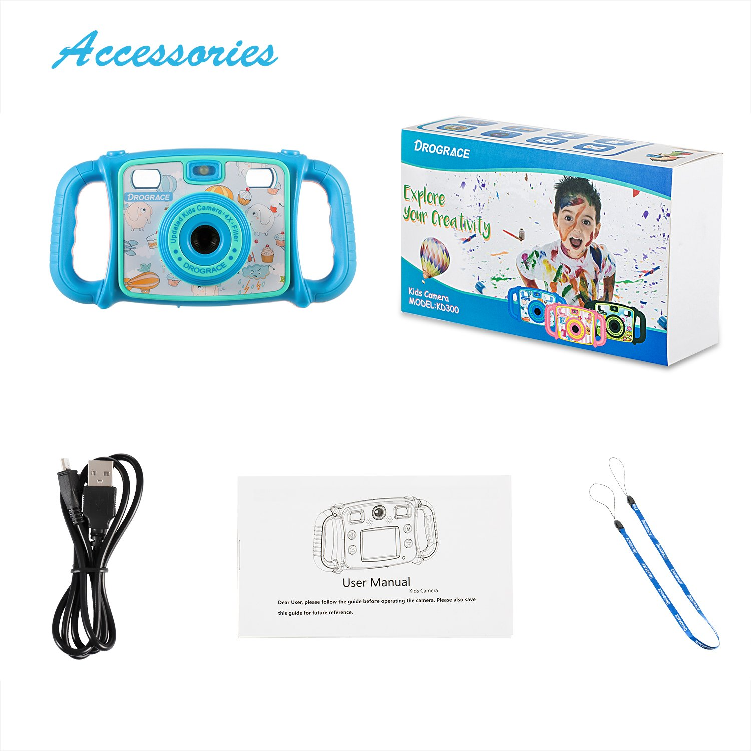 """Prograce Kids Camera Dual Selfie Camera 1080P HD Video Recorder Digital Action Camera Camcorder for Boys Girls Gifts 2.0"""" LCD Screen with 4X Digital Zoom and Funny Game(Blue) by PROGRACE (Image #6)"""