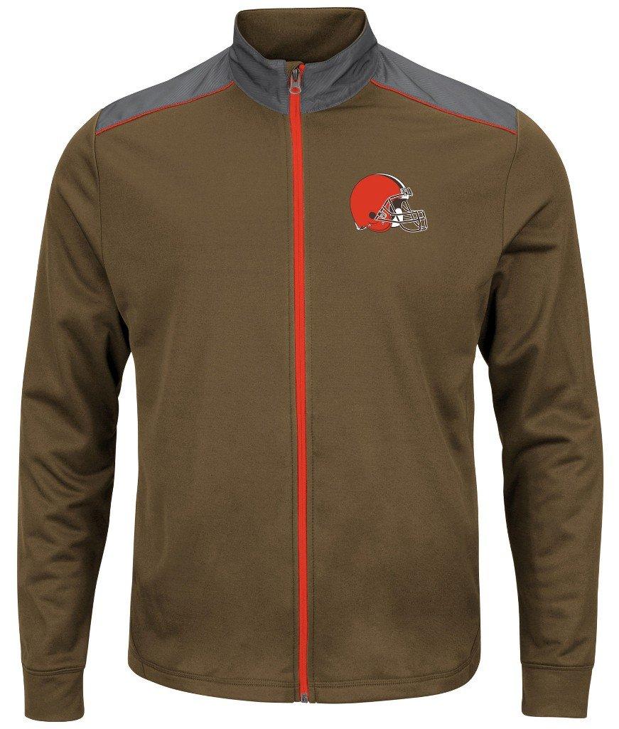 Cleveland Browns NFLメンズマジェスティックTherma Base TechチームフルZipトラックジャケットブラウンビッグサイズ 6XL  B07957Z9DT