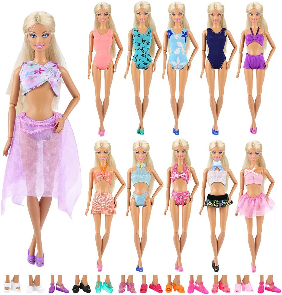 Amazon.com: BARWA 5 Sets Swimwear Swimsuit Beach Bikini Bathing Clothes  with Shoes for 11.5 Inch Doll: Toys & Games