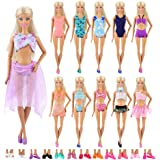 Barwa 5 Sets Swimwear Swimsuit Beach Bikini Bathing Clothes with Shoes for 11.5 Inch 28 - 30 cm Doll Xmas Gift