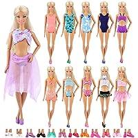 Barwa 5 Sets Swimwear Swimsuit Beach Bikini Bathing Clothes with Shoes for 11.5 Inch 28 - 30 cm Doll