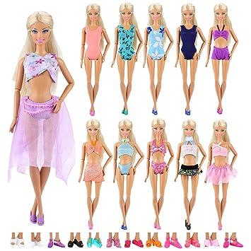 Amazon.es: Miunana 5X MiniBikini Bañadores Verano Ropas Playa Traje de Baño + 5 Pares Zapatillas como Regalo para Muñeca Barbie 30 cm Doll - Estilo al Azar: ...