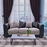 Fabric 3 Seater Sofa With Faux Leather Arm And 5 Pillows Settee Couch For Living Room Bedroom Furniture