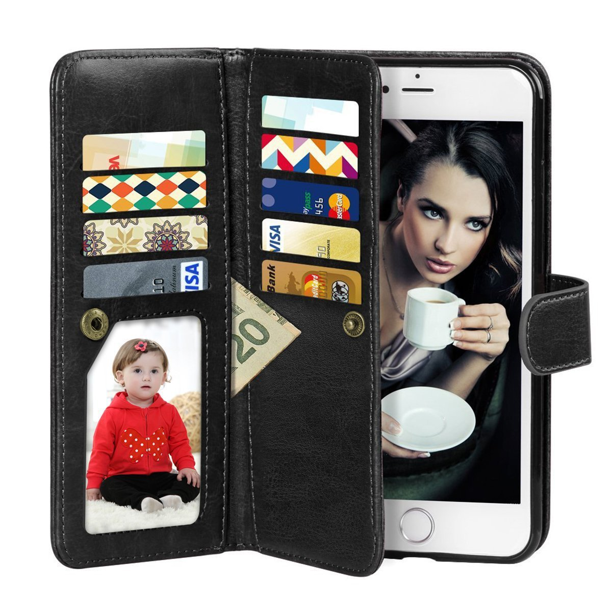 Vofolen 2-in-1 Case for iPhone 6 Case iPhone 6S Case Wallet Folio Flip PU Leather Case Protective Hard Shell Magnetic Detachable Slim Back Cover with Card Holder Slot Wrist Strap for iPhone 6 6S Black by Vofolen